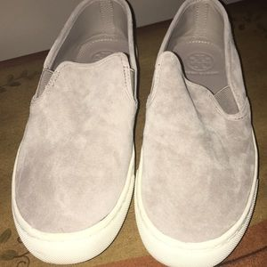 Tory Burch gray suede slip on